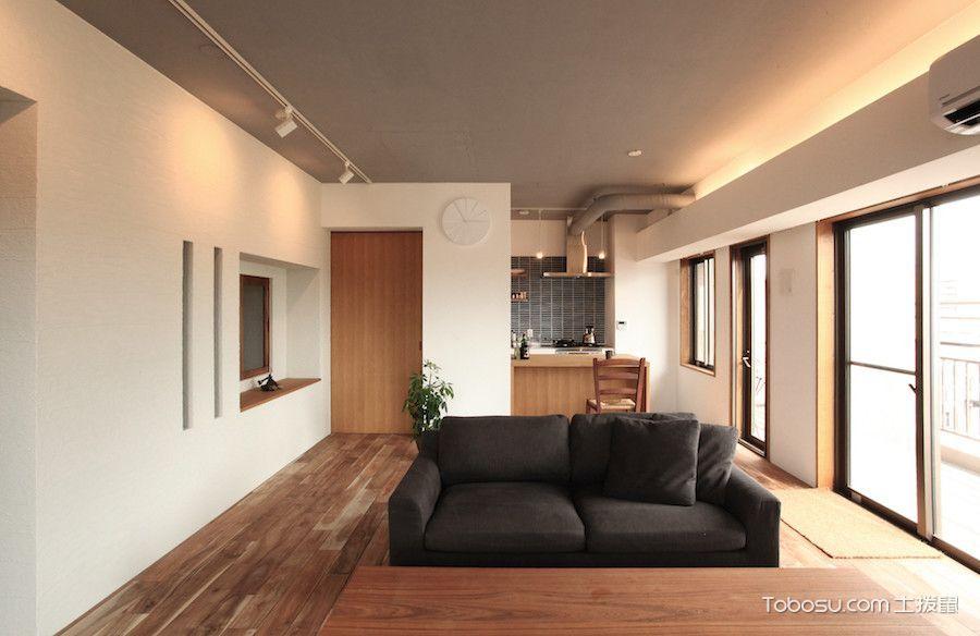 客厅黑色沙发日式风格效果图