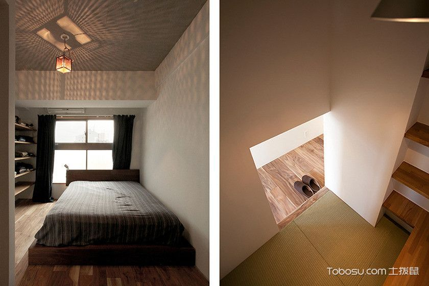 书房白色背景墙日式风格装修设计图片