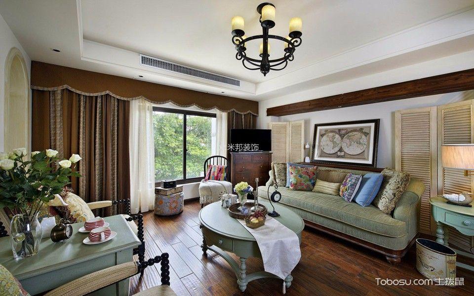 弘建一品110平美式乡村风格三居室装修效果图