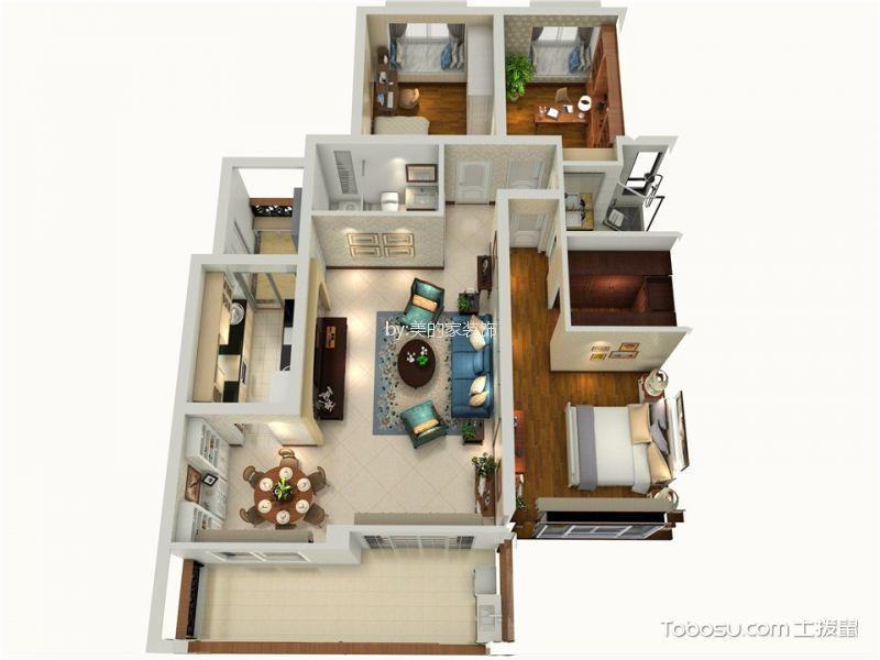 两江春城120平3居室美式风格装修效果图