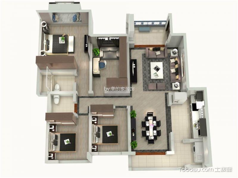 璧山绿岛中心116平三居室现代风格效果图