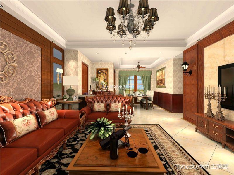 天盈首原114平三居室美式风格效果图