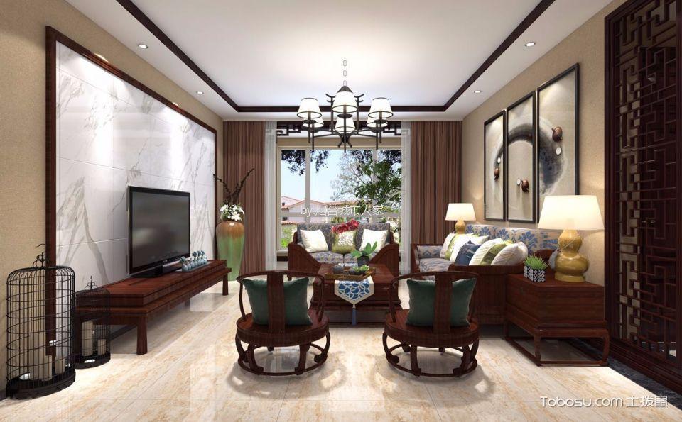 新中式风格138平米三房两厅新房装修效果图