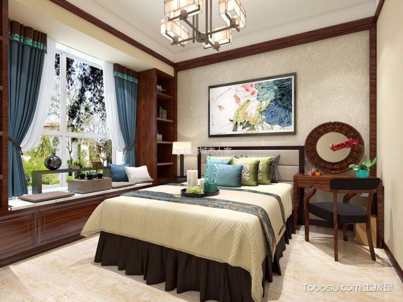 卧室 飘窗_中海银海熙岸138平新中式风格三居室装修效果图
