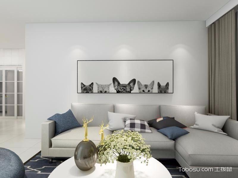 9.3万松江区100平米简约风格三居室装修效果图