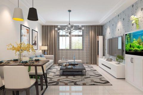 绿都紫荆华庭90平现代简约三室装修效果图