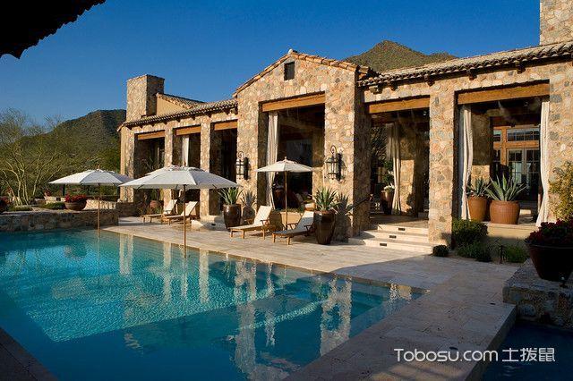 花园黄色泳池地中海风格装修效果图