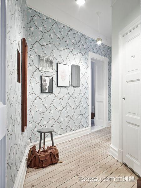 玄关白色走廊北欧风格装潢效果图