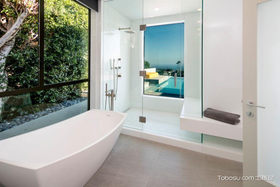 浴室白色浴缸现代风格装饰图片_土拨鼠装修效果图