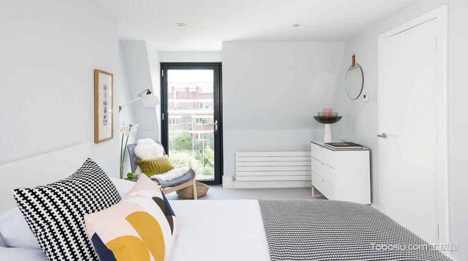 卧室白色背景墙北欧风格装饰图片