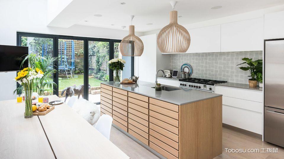 厨房米色厨房岛台北欧风格装修设计图片
