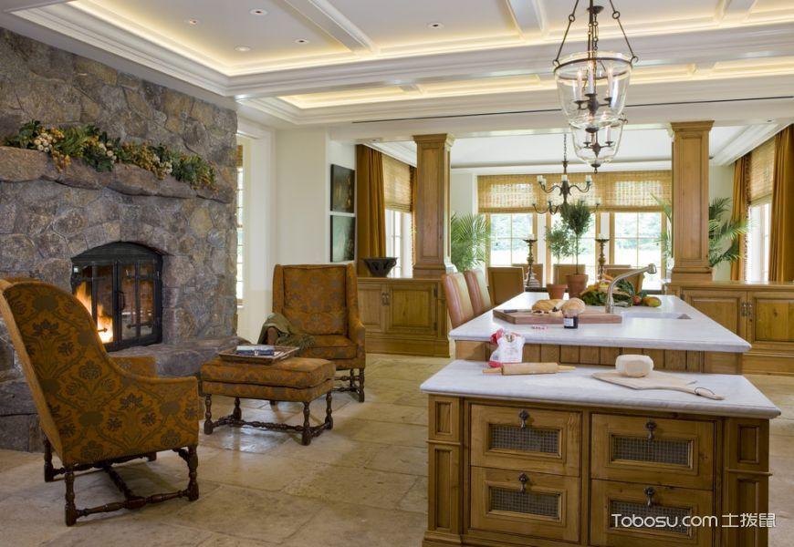 厨房米色厨房岛台美式风格装饰效果图