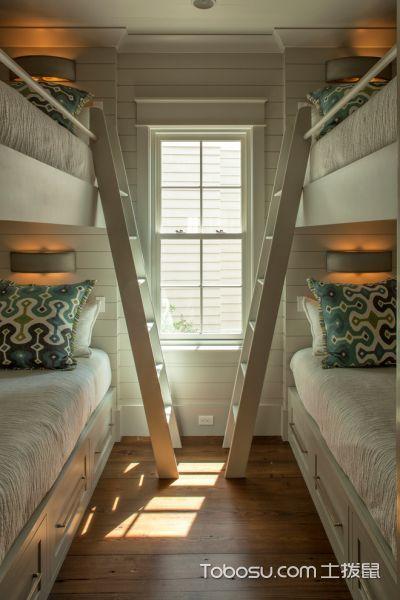 儿童房米色床混搭风格装潢图片