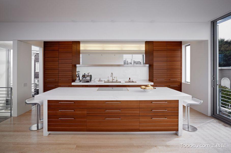 厨房咖啡色厨房岛台现代风格装饰设计图片