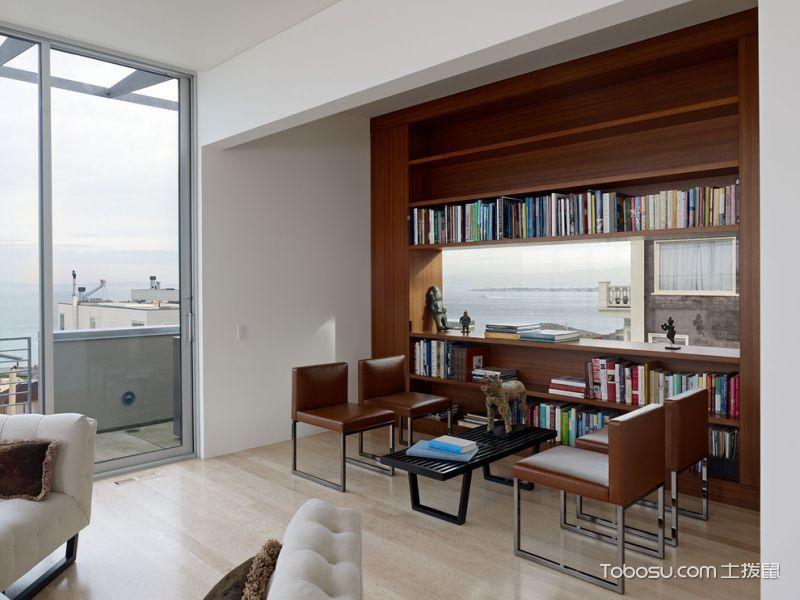 客厅咖啡色书架现代风格效果图