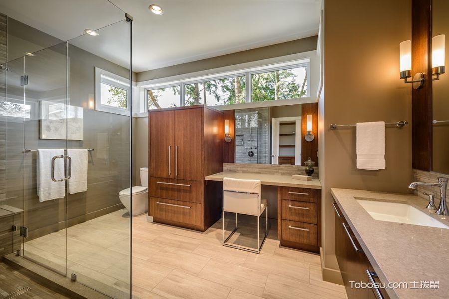 卫生间米色地板砖现代风格装修设计图片