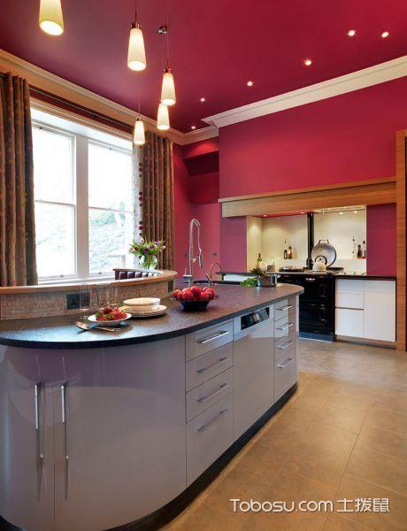 厨房粉色厨房岛台简欧风格装修图片