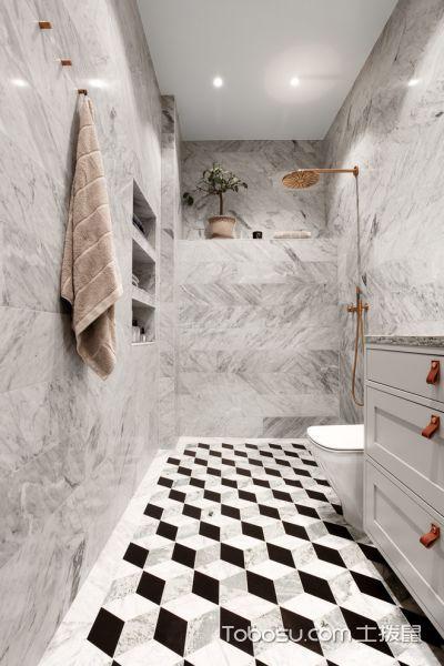 浴室灰色背景墙北欧风格装潢图片