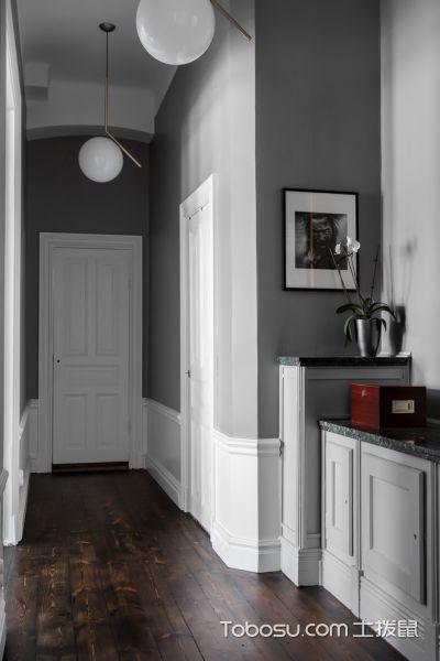 玄关灰色走廊北欧风格装潢设计图片