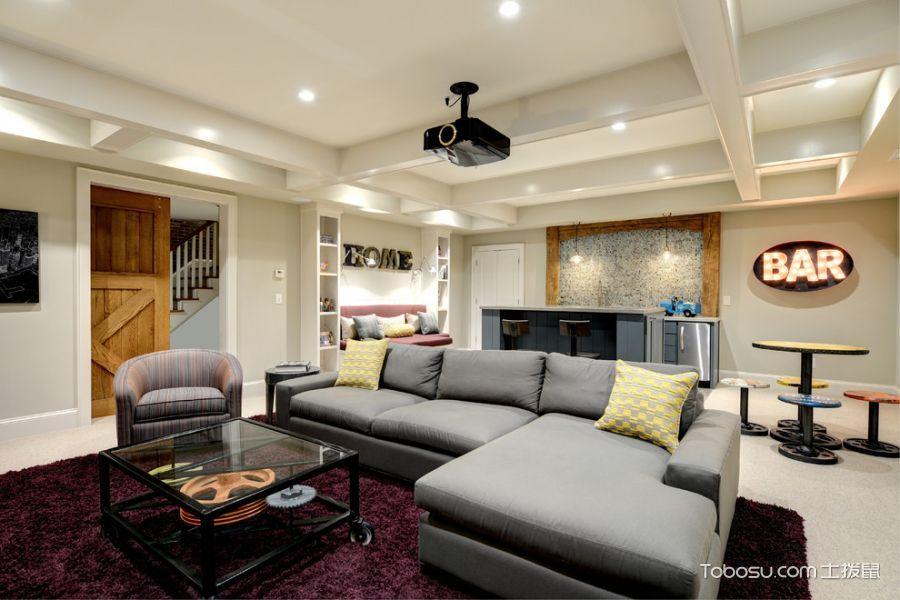 客厅灰色沙发混搭风格装饰设计图片_土拨鼠装修效果图