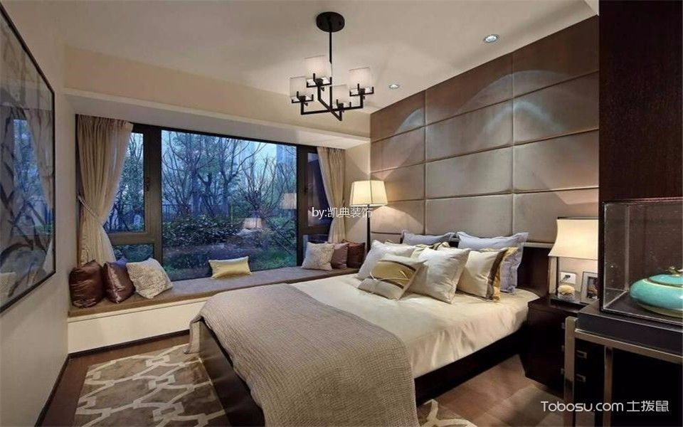 卧室 飘窗_复地新都国际南区140平新中式三室两厅两卫装修效果图