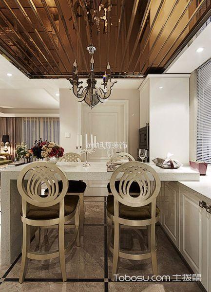 厨房咖啡色吊顶混搭风格装修设计图片