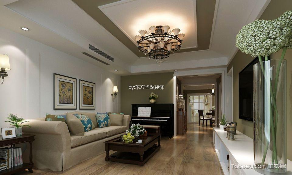 紫郡长安120平美式风格3居室装修效果图