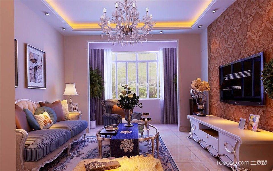 简欧风格96平米2房2厅房子装饰效果图
