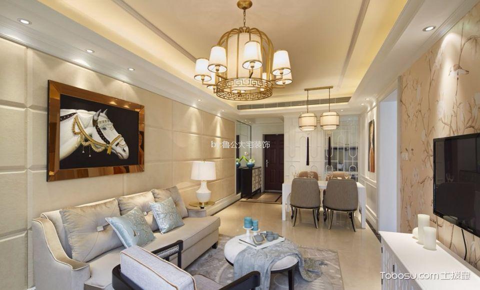 佳源巴黎都市90平三室两厅法式风格装修效果图