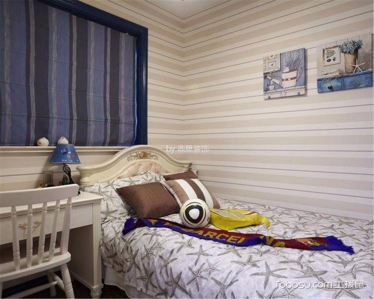 儿童房白色背景墙地中海风格装饰设计图片