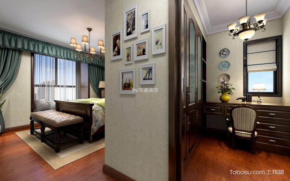 卧室绿色窗帘美式风格装修图片