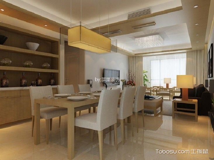 餐厅米色餐桌日式风格装修设计图片