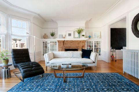 朴素温馨混搭白色l型沙发设计图欣赏