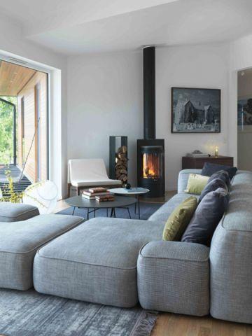 奢华灰色l型沙发装修效果图