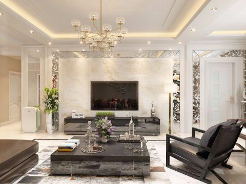 低调优雅白色客厅构造图