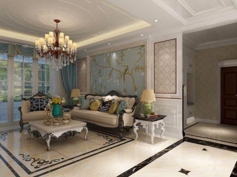客厅蓝色背景墙装修案例图片