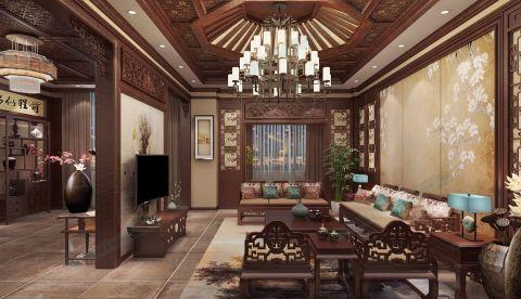 客厅咖啡色吊顶中式风格装饰设计图片