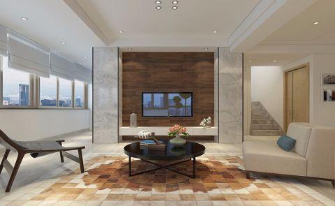 客厅咖啡色背景墙简约风格装修设计图片