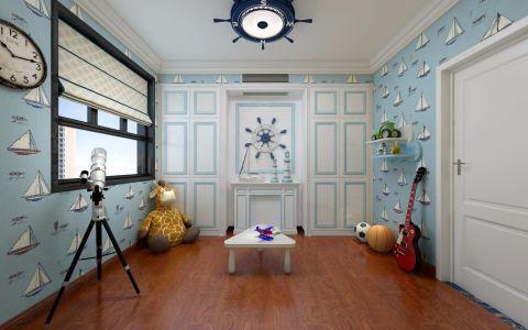 儿童房蓝色背景墙美式风格装饰效果图