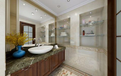 浴室咖啡色洗漱台美式风格装潢图片