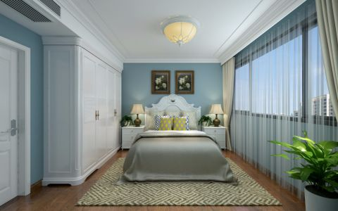 休闲蓝色卧室装修案例图片
