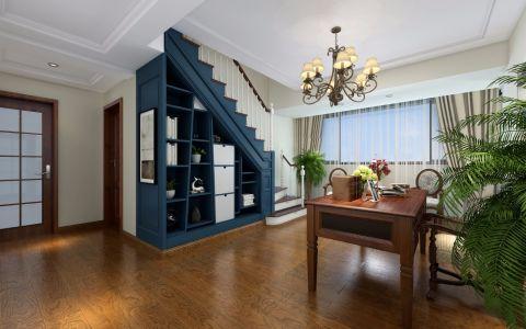 书房蓝色书架美式风格效果图
