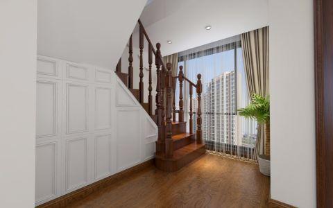 玄关咖啡色楼梯美式风格装饰效果图