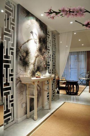 清新素丽中式白色背景墙设计图片