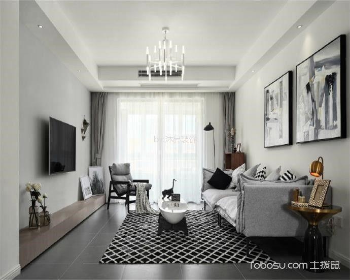 北欧风格130平米三室两厅室内装修效果图