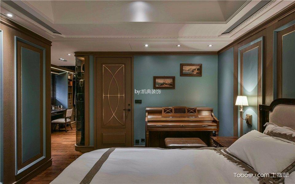 卧室蓝色背景墙美式风格装修效果图