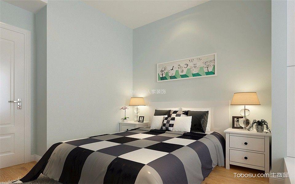 卧室蓝色背景墙北欧风格装饰效果图