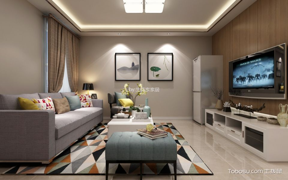客厅白色茶几现代风格装修图片