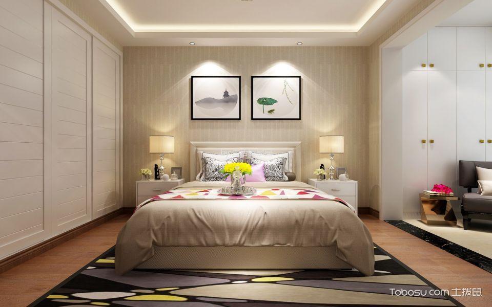 休闲米色卧室装潢图