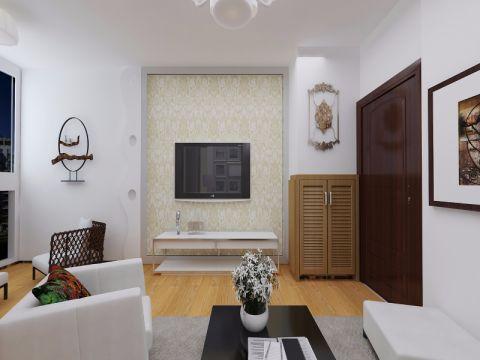 客厅米色背景墙现代风格装修效果图